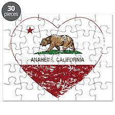 california flag anaheim heart distressed Puzzle
