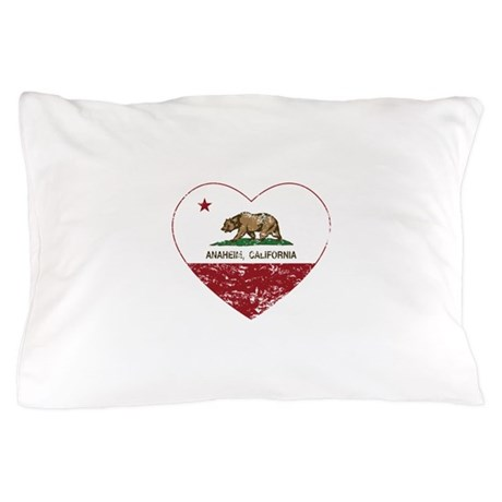 california flag anaheim heart distressed Pillow Ca