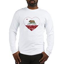california flag anaheim heart distressed Long Slee