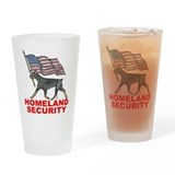 Doberman pinscher home land security Drinking Glass