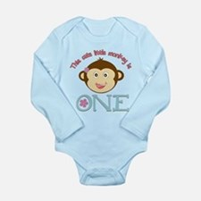 Adorable Little Monkey Girl 1st Birthday Long Slee