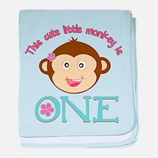 Adorable Little Monkey Girl 1st Birthday baby blan