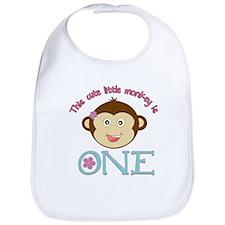 Adorable Little Monkey Girl 1st Birthday Bib