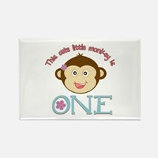 Adorable Little Monkey Girl 1st Birthday Rectangle