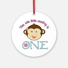 Adorable Little Monkey Girl 1st Birthday Ornament