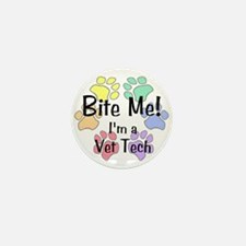 Bite Me I'm A Vet Tech Pawprints Mini Button