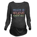Peace Love Puerto Rico Long Sleeve Maternity T-Shi