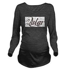 Vintage Qatar Long Sleeve Maternity T-Shirt