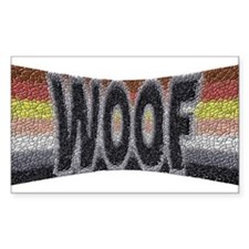 BEAR PRIDE WOOF BOWTIE Rectangle Decal