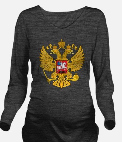 Russia 2 Headed Eagle Long Sleeve Maternity T-Shir