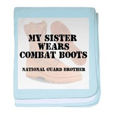 National Guard Brother Sister wears DCB baby blank