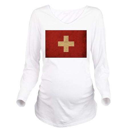 Vintage Switzerland Flag Long Sleeve Maternity T-S