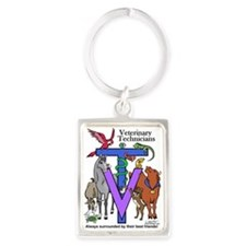 Vet Tech Surrounded Portrait Keychain