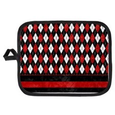 Red, Black and White Argyle Potholder