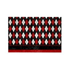 Red, Black and White Argyle Rectangle Magnet