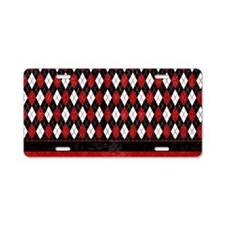 Red, Black and White Argyle Aluminum License Plate
