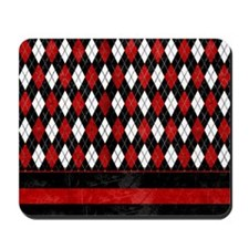 Red, Black and White Argyle Mousepad