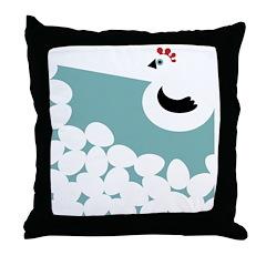 Chicken Aqua Throw Pillow