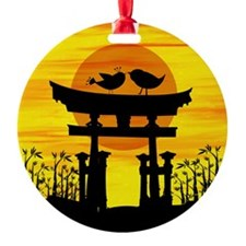 Two love birds on top of a Japanese temple Ornamen