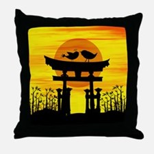Two love birds on top of a Japanese temple Throw P