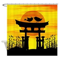 Two love birds on top of a Japanese temple Shower