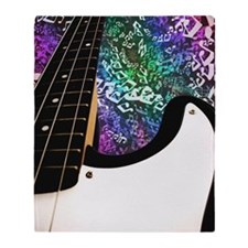 Rainbow Notes Bass Guitar Throw Blanket