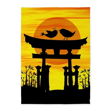 Two love birds on top of a Japanese temple 5'x7'Ar