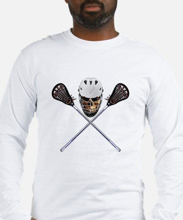 Lacrosse Pirate Skull Long Sleeve T-Shirt