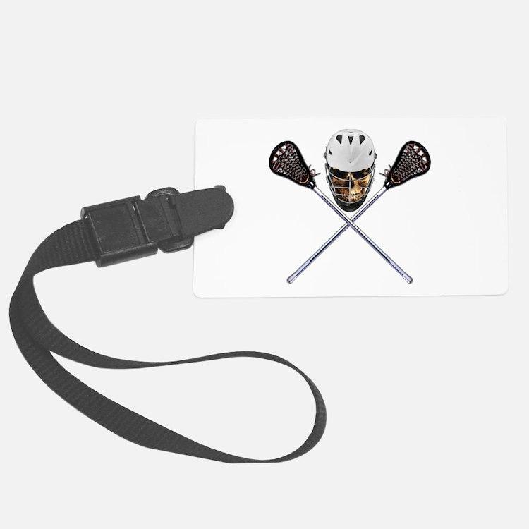 Lacrosse Pirate Skull Luggage Tag