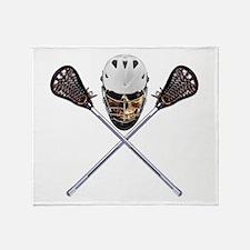 Lacrosse Pirate Skull Throw Blanket