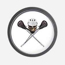 Lacrosse Pirate Skull Wall Clock
