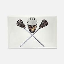 Lacrosse Pirate Skull Rectangle Magnet