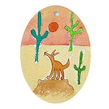 Desert Coyote 11x17 350dpi Oval Ornament
