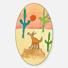 Desert Coyote 11x17 350dpi Sticker (Oval)
