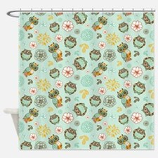 Whimsical Owl Pattern Shower Curtain