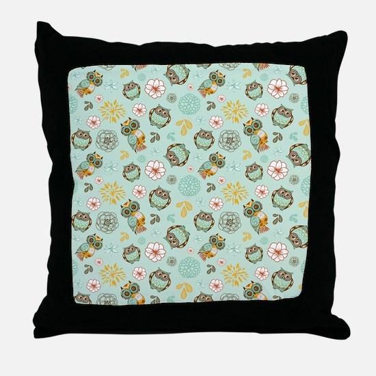 Whimsical Owl Pattern Throw Pillow