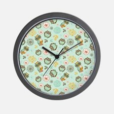 Whimsical Owl Pattern Wall Clock