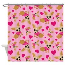 Chihuahua Heart Pattern Shower Curtain