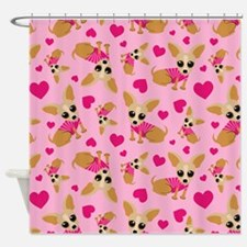 Chihuahua Heart Pattern Shower Curtain