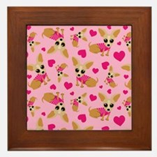 Chihuahua Heart Pattern Framed Tile