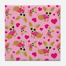 Chihuahua Heart Pattern Tile Coaster
