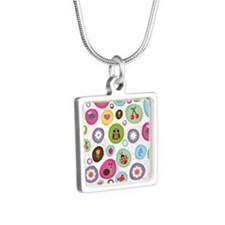 Frogs, Owls, Snail  Silver Square Necklace