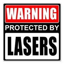 """Warning Lasers Square Car Magnet 3"""" x 3"""""""