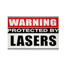 Warning Lasers Rectangle Magnet