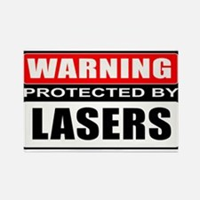 Warning Lasers Rectangle Magnet