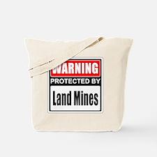 Warning Land Mines Tote Bag