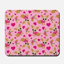 Chihuahua Heart Pattern Mousepad