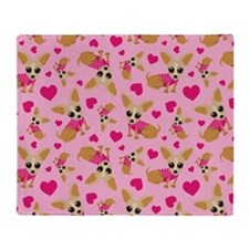 Chihuahua Heart Pattern Throw Blanket