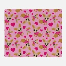 Chihuahua Heart Pattern Throw Blanket