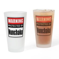 Warning Nunchaku! Drinking Glass